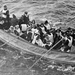Survivors escaping in a lifeboat