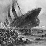 Survivors looking on at sinking Titanic